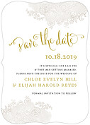 It's Official Date Ornate Save the Date Flat Cards - Front
