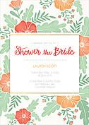 Finest Floral Shower Shower Invites Flat Cards - Front