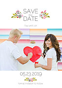 Bouquet Date Red Save the Date Flat Cards - Front