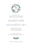 Bouquet Invitation Teal Wedding Invites Flat Cards - Front