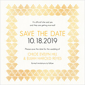 Damask Frame Date Square Save the Date Flat Cards - Front