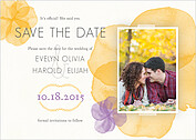 Floral Watercolor Date Save the Date Flat Cards - Front