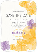Floral Watercolor Date Ornate Save the Date Flat Cards - Front