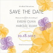 Floral Watercolor Date Square Save the Date Flat Cards - Front
