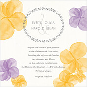 Floral Watercolor Invitation Square Wedding Invites Flat Cards - Front