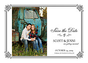 Gatsby Date Black Save the Date Flat Cards - Front