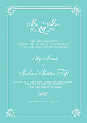 Gatsby Invitation Teal Wedding Invites Flat Cards - Front