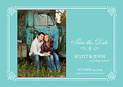 Gatsby Date Teal Save the Date Flat Cards - Front