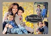 Photo Trio Chalkboard Christmas Flat Cards - Front