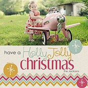 Holly Jolly Square Christmas Flat Cards - Front
