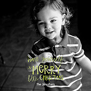 Merry Full Frame Green Square Christmas Flat Cards - Front