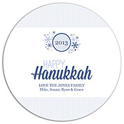 Hanukkah Wishes Blue Circle - Back