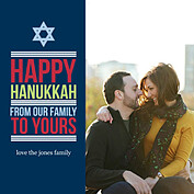 Modern Magen Blue Square Hanukkah Flat Cards - Front