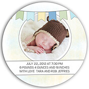 Lovely Welcome Blue Circle Birth Announcements Flat Cards - Back
