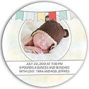 Lovely Welcome Aqua Circle Birth Announcements Flat Cards - Back
