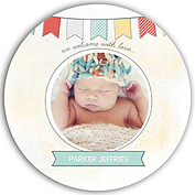 Lovely Welcome Aqua Circle Birth Announcements Flat Cards - Front