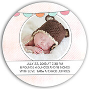 Lovely Welcome Pink Orange Circle Birth Announcements Flat Cards - Back