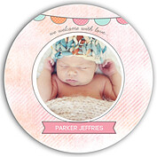 Lovely Welcome Pink Orange Circle Birth Announcements Flat Cards - Front
