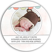 Lovely Welcome Coral Circle Birth Announcements Flat Cards - Back