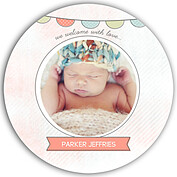Lovely Welcome Coral Circle Birth Announcements Flat Cards - Front