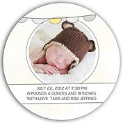 Lovely Welcome Yellow Circle Birth Announcements Flat Cards - Back
