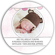 Lovely Welcome Pink Circle Birth Announcements Flat Cards - Back