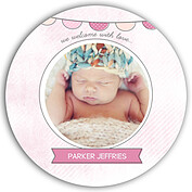 Lovely Welcome Pink Circle Birth Announcements Flat Cards - Front
