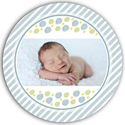 Bubbly Frame Blue Circle Birth Announcements Flat Cards - Back
