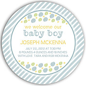 Bubbly Frame Blue Circle Birth Announcements Flat Cards - Front