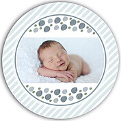 Bubbly Frame Blue Gray Circle Birth Announcements Flat Cards - Back