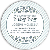 Bubbly Frame Blue Gray Circle Birth Announcements Flat Cards - Front