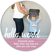 Dots Band Pink Circle Birth Announcements Flat Cards - Front