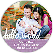 Dots Band Purple Circle Birth Announcements Flat Cards - Front