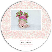 Damask Floral Girl Circle Birth Announcements Flat Cards - Front