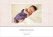 Damask Floral Girl Birth Announcements Cards - Front