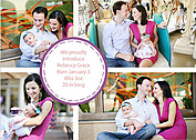 Dotted Circle Purples Birth Announcements Flat Cards - Front