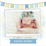 Lovely Welcome Blue Square Birth Announcements Flat Cards - Front