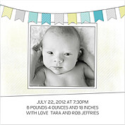 Lovely Welcome Teal Square Birth Announcements Flat Cards - Back