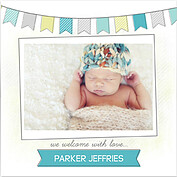 Lovely Welcome Teal Square Birth Announcements Flat Cards - Front