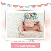 Lovely Welcome Pink Orange Square Birth Announcements Flat Cards - Front