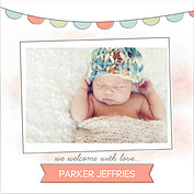 Lovely Welcome Coral Square Birth Announcements Flat Cards - Front