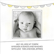 Lovely Welcome Yellow Square Birth Announcements Flat Cards - Back