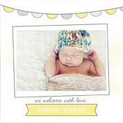 Lovely Welcome Yellow Square Birth Announcements Flat Cards - Front