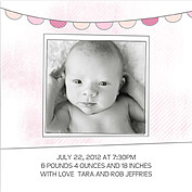 Lovely Welcome Pink Square Birth Announcements Flat Cards - Back