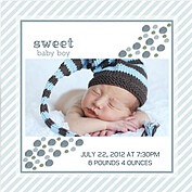 Bubbly Frame Blue Gray Square Birth Announcements Flat Cards - Back