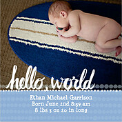 Dots Band Blue Square Birth Announcements Flat Cards - Front