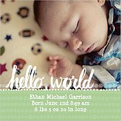 Dots Band Lime Square Birth Announcements Flat Cards - Front