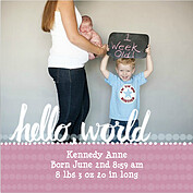 Dots Band Pink Square Birth Announcements Flat Cards - Front
