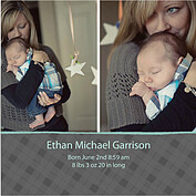 Plaid and Aqua Square Birth Announcements Flat Cards - Front