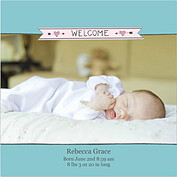 Welcome Banner Pink Blue Square Birth Announcements Flat Cards - Front